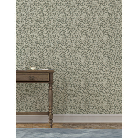 Crown Ash Branch - Dark Olive Wallpaper