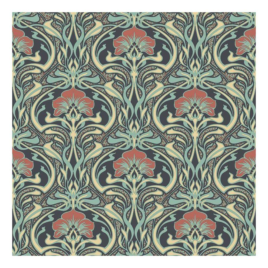 RETRO FLORA NOUVEAU PEACOCK GREEN FLORAL FEATURE DESIGNER WALLPAPER CROWN M1196