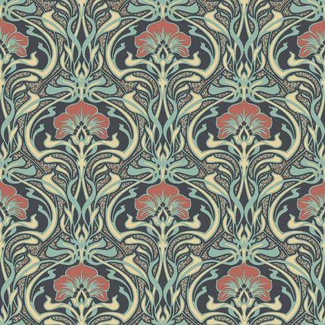 Crown Wallcoverings Flora Nouveau Wallpaper Green M1196