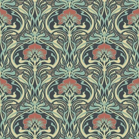 Crown Wallcoverings Flora Nouveau Wallpaper Green M1196 Full Roll