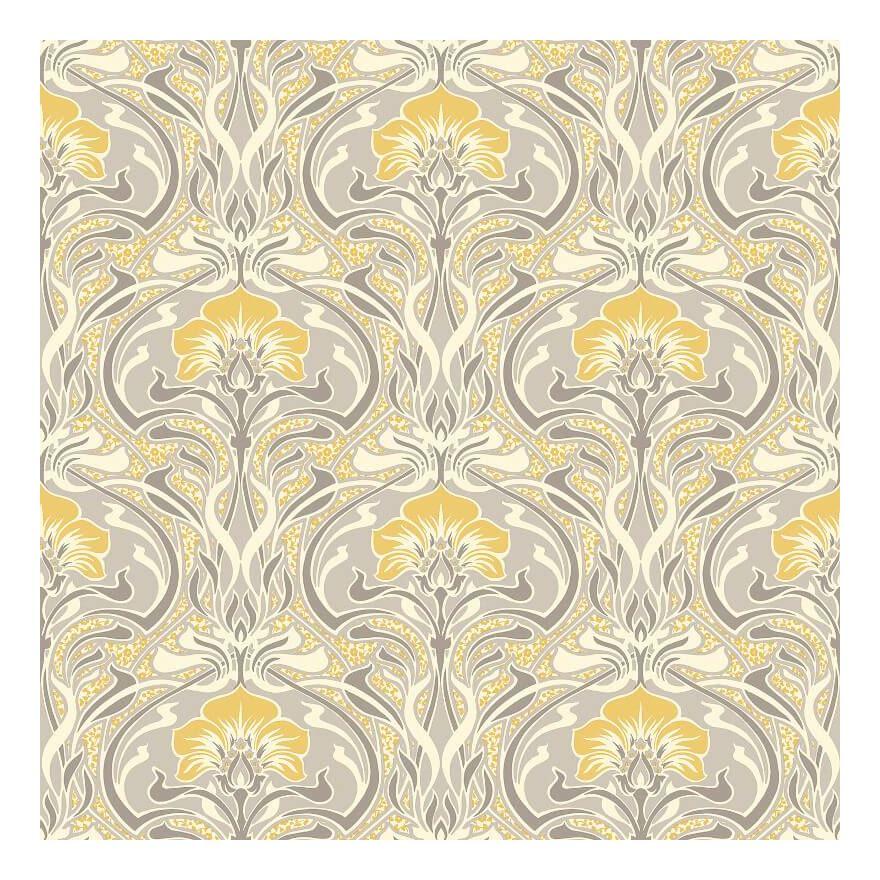 Image of Retro Damask Wallpaper Vintage Flora Nouveau Metallic Silver Grey Yellow Crown