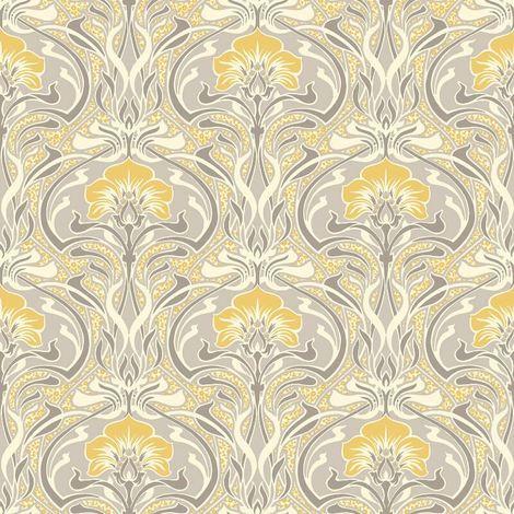 Crown Wallcoverings Flora Nouveau Wallpaper Yellow M1195