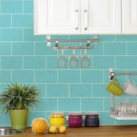 Glitter London Tile Effect Wallpaper Brick Sparkle Kitchen Bathroom