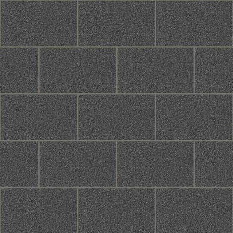Crown Wallcoverings London Glitter Tile Wallpaper Black M1055 Full Roll
