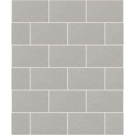 Crown Wallcoverings London Glitter Tile Wallpaper Grey M1123