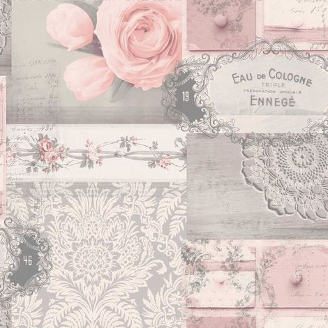 Crown Wallcoverings Ophelia Decoupage Blush M1426