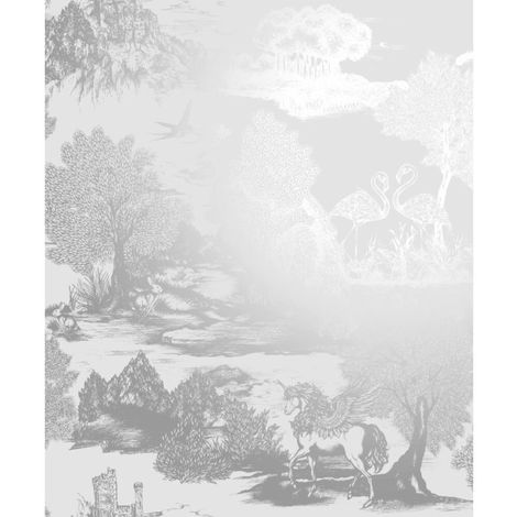 Crown Wallcoverings Ophelia Pegasus Silver M1428