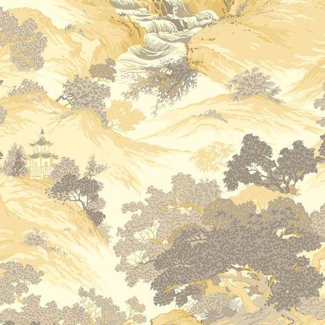 Crown Wallcoverings Oriental Landscape Wallpaper Yellow M1192
