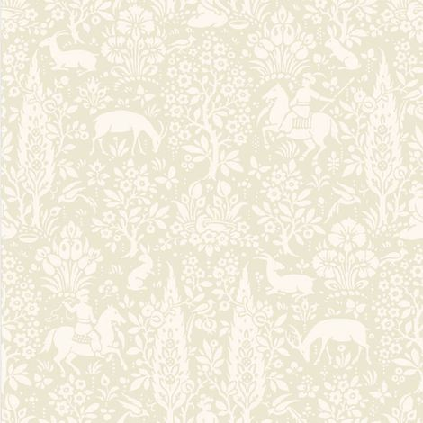Animal Print Wallpaper Woodland Rabbits Dears Flowers Floral Birds Natural Cream