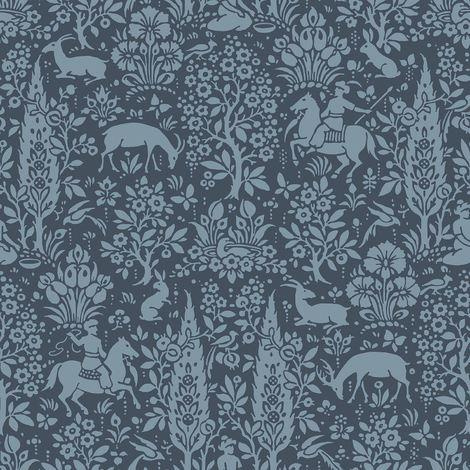 Crown Wallcoverings Woodland Wallpaper Dark Blue M1169