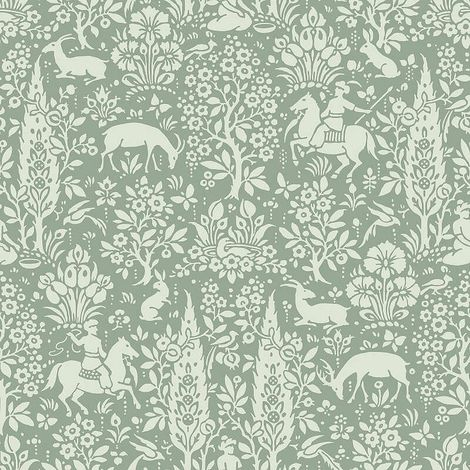 Crown Wallcoverings Woodland Wallpaper Green M1167