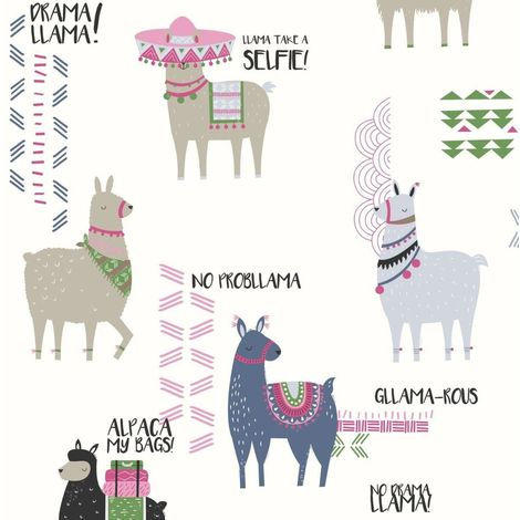 Crown Wallpaper Drama Llamas Multi/Glitter M1378