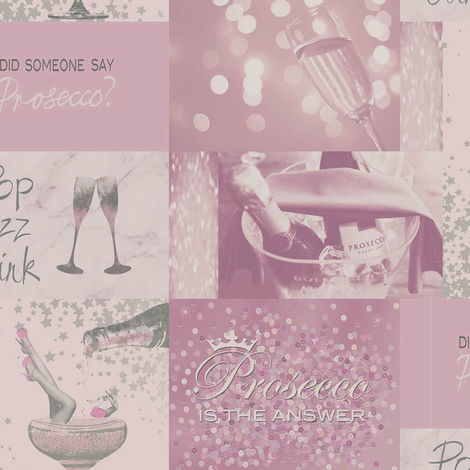 Crown Wallpaper Prosecco Time Pink Silver M1460