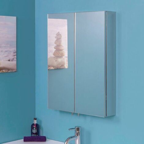 Croydex Anton Bathroom Mirror Cabinet Double Door Stainless Steel