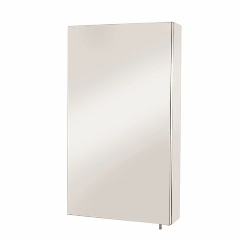 Croydex Anton Bathroom Mirror Cabinet Single Door Stainless Steel