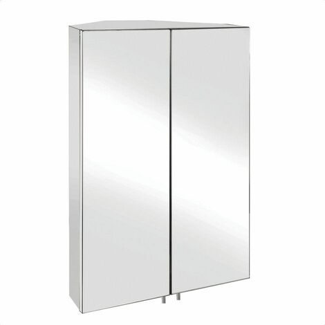 Croydex Avisio Corner Mirror Cabinet Double Door Stainless Steel