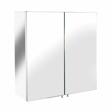 Croydex Avon Bathroom Mirror Cabinet Double Door Small Stainless
