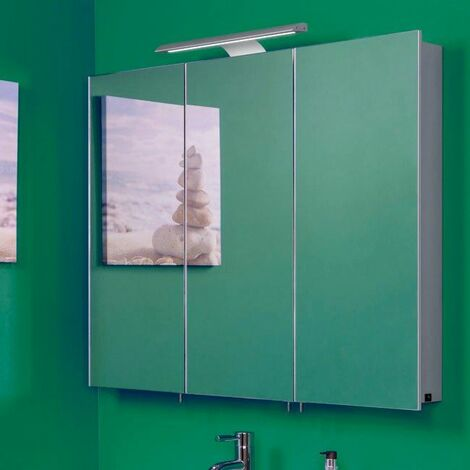 Croydex Bathroom Mirror Cabinet LED Illuminated Bar Modern Rectangular 3 Door