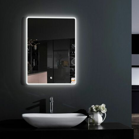 Croydex Bathroom Mirror LED Illuminated Modern Rectangular Lock IP44 500 x 700mm