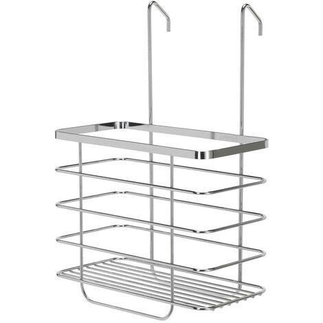 Croydex Chrome Shower Basket Storage Hang Hook On Shower Screen Caddy QM264141