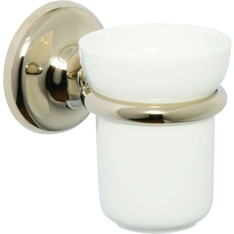 Croydex Flexi-Fix Grosvenor Tumbler and Holder, Gold