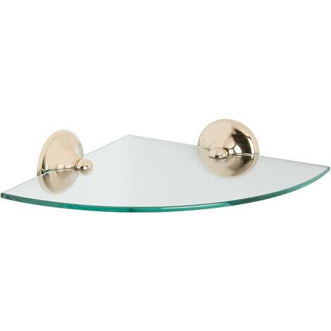 Croydex Grosvenor Gold Bathroom Glass Corner Shelf Traditional Style QM705903
