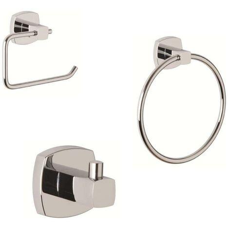 Croydex Medway Bathroom Robe Hook Towel Ring Toilet Roll Holder Set QM619941