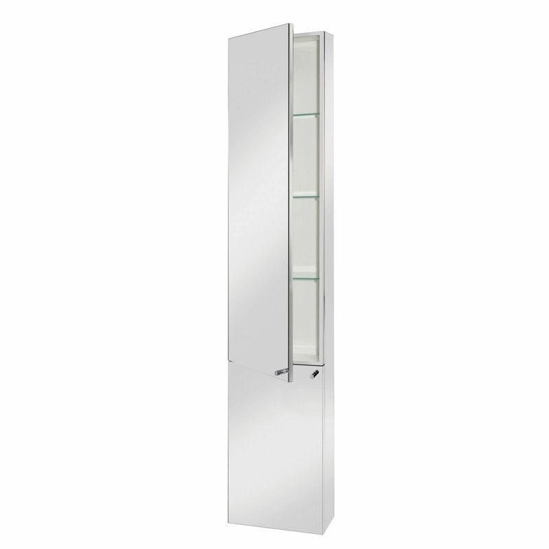 Croydex Nile Tall Mirror Cabinet Stainless Steel - WC796005