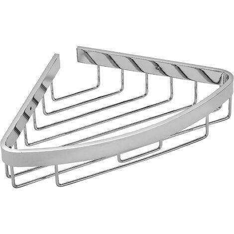 Croydex Rust Free Aluminium Bathroom Storage Corner Shower Basket Caddy, Chrome