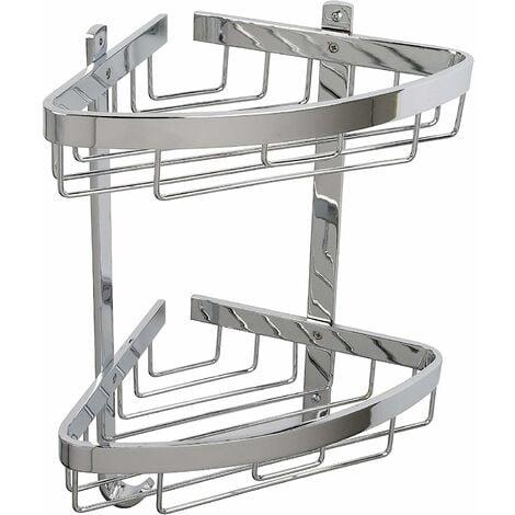 Croydex Rust Free Aluminium Large Two Tier Bathroom Storage Corner Shower Basket Caddy, Chrome