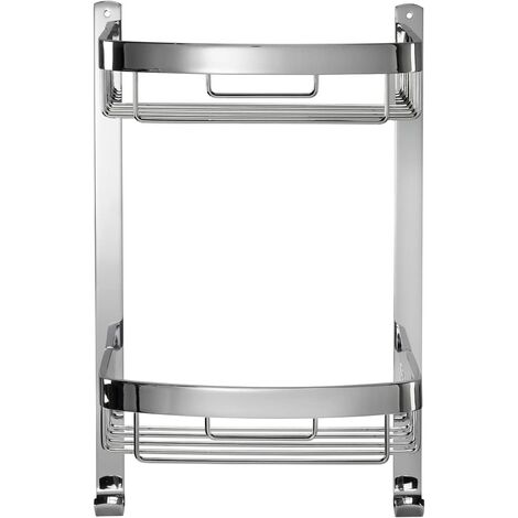 Croydex Rust Free Aluminium Large Two Tier Bathroom Storage Curved Shower Basket Caddy, Chrome