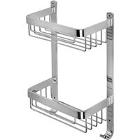 Croydex Rust Free Aluminium Large Two Tier Bathroom Storage Shower Basket Caddy, Chrome