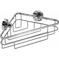 Croydex Rust Free Brockham Flexi-Fix Bathroom Storage Corner Shower Basket Caddy, Chrome
