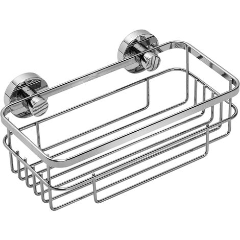 Croydex Rust Free Brockham Flexi-Fix Bathroom Storage Cosmetic Shower Basket Caddy, Chrome