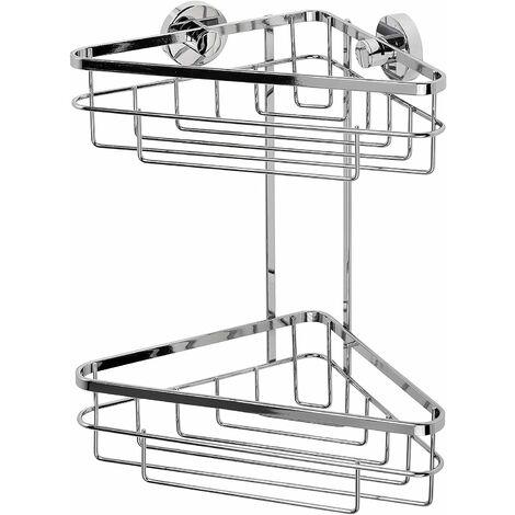 Croydex Rust Free Brockham Flexi-Fix Two Tier Bathroom Storage Corner Shower Basket Caddy, Chrome