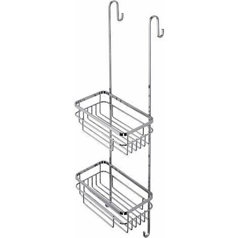 Croydex Rust Free Brockham Two Tier Hook Over Bathroom Storage Shower Basket Caddy, Chrome