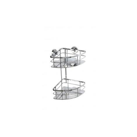 Croydex Rust Free Charlwood Flexi-Fix Two Tier Bathroom Storage Corner Shower Basket Caddy, Chrome