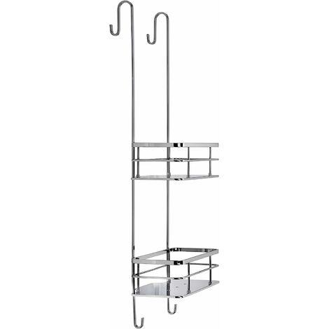 Croydex Rust Free Charlwood Flexi-Fix Two Tier Hook Over Bathroom Storage Shower Basket Caddy, Chrome
