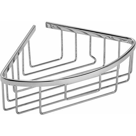 Croydex Rust Free Slimline Aluminium Bathroom Storage Corner Shower Basket Caddy, Chrome