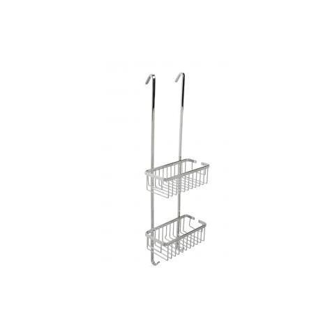 Croydex Rust Free Slimline Aluminium Two Tier Bathroom Storage Hook Over Shower Basket Caddy, Chrome