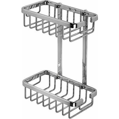 Croydex Rust Free Slimline Aluminium Two Tier Bathroom Storage Shower Basket Caddy, Chrome