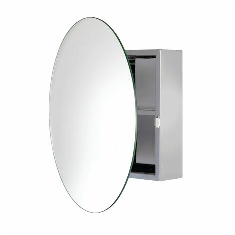 Croydex Severn Circular Door Bathroom Mirror Cabinet Stainless
