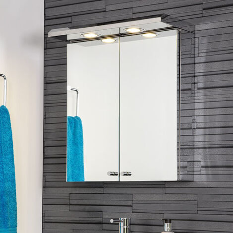 Croydex Shire Illuminated Mirror Cabinet Double Door Stainless
