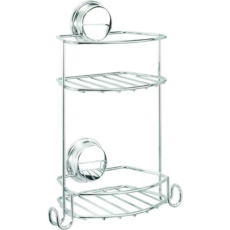 Croydex Stick 'N' Lock Rust Free Compact Two Tier Shower Basket Caddy, Chrome