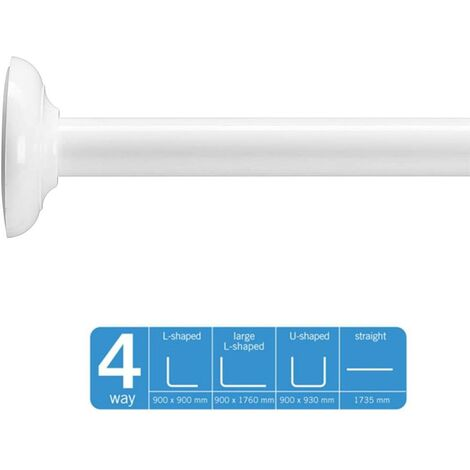 Croydex Strong White Shower Curtain Rail Rod 4 Options L U or Straight AD118922