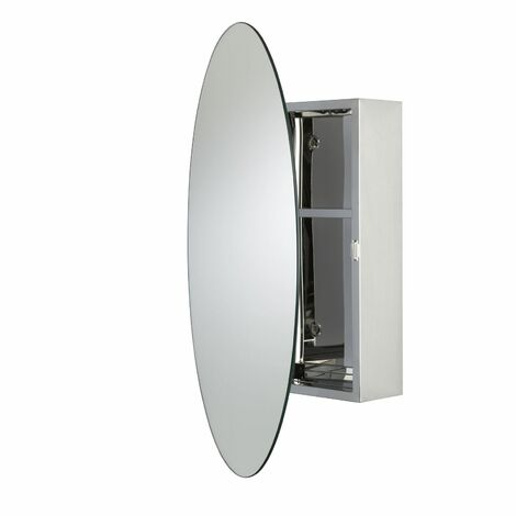 Croydex Tay Oval Mirror Cabinet Stainless Steel - WC870105