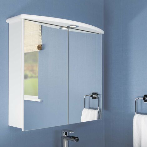 Croydex Thames Mirror Cabinet Mains Powered Bathroom Cabinet LED Illuminated