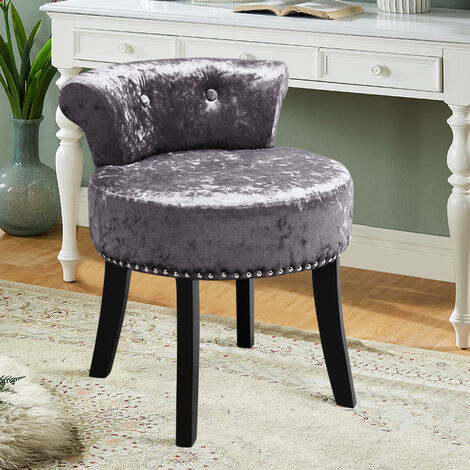 Crush Velvet Dressing Table Chair Vanity Makeup Stool Pouffe Footstool Bedroom Chair