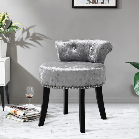 "main image of ""Crush Velvet Dressing Table Chair Vanity Makeup Stool Pouffe Footstool Bedroom Chair"""