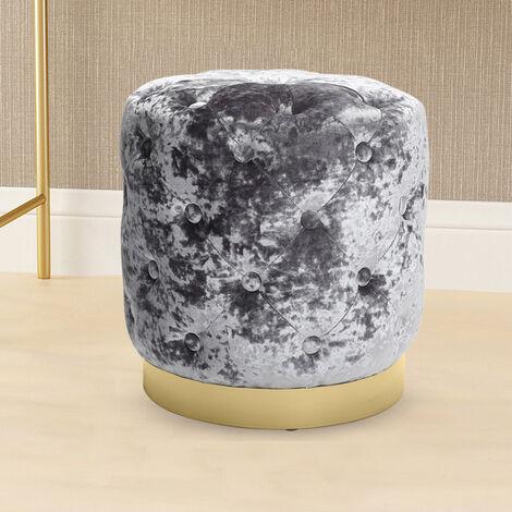 Crush Velvet Footstool Vanity Stool Dressing Table Chair Makeup Seat Footrest Silver Grey